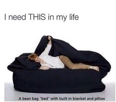 "this is awesome.a bean bag ""bed"" with built in blanket and pillow. this is awesome.a bean bag ""bed"" with built in blanket and pillow. this is awesome.a bean bag ""bed"" with built in blanket and pillow. Huge Bean Bag, Bean Bag Bed, Bean Bag Chair, Giant Bean Bags, Do It Yourself Furniture, Take My Money, Looks Cool, My New Room, Dandy"