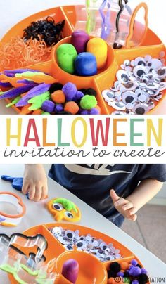 Halloween Creations - An Invitation to Play - - Playdough, pom-poms, wiggly eyes.the things dreams are made of right? Well, at least it is what some adorable Halloween creations are made of! Theme Halloween, Halloween Items, Halloween Crafts For Kids, Easy Halloween, Halloween Theme Preschool, Halloween Week, Halloween Books, Kids Crafts, Autumn Activities For Kids