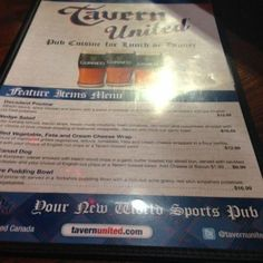 Menu Tavern United Brandon  |  1125 18th Street, Brandon, Manitoba