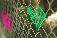 Break up the monotony of chain link with colorful yarn hearts