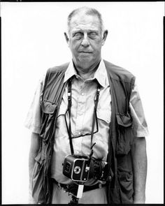 Lee Friedlander by Avedon, looks like a Hasselblad SWC/M camera (rangefinder), but Friedlander is better known by his use of 35mm Leica and Voigtander cameras