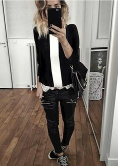 black and white style love the off day outfit