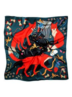 A Midnight Feast Silk Scarf by Edinburgh-based fashion designer, Karen Mabon. Fox Scarf, Mabon, Designer Scarves, Scarf Design, Clutch, Neck Scarves, Textile Patterns, Printing On Fabric, My Style