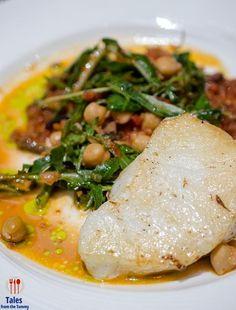 Pan-Seared Seabass with Chorizo Marmalade, Warm Chickpea & Arugula Salad