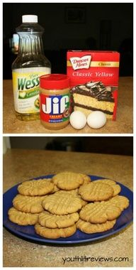 Easiest Peanut Butter Cookies Ever: 1 box yellow cake mix, 2 eggs, 1 half cup of oil, 1 cup peanut butter. Bake 10 min. at 350.