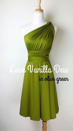 Robe cocktail vert olive
