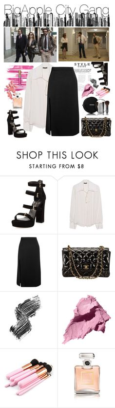 """Big city gang"" by geld-1 ❤ liked on Polyvore featuring Stuart Weitzman, Yves Saint Laurent, Plein Sud, Lanvin, Chanel, Illamasqua, Bobbi Brown Cosmetics and RoomMates Decor"