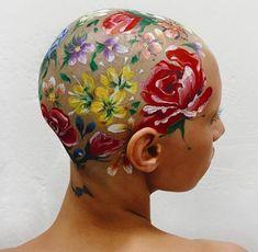 Roses on the scalp skin art body art paint on we heart it Alphonse Mucha, Art Hoe, Oeuvre D'art, Art Inspo, Art Reference, Body Art, Art Drawings, Art Photography, Creations