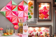 Geometric Backdrop | birthday PARTY decoration ideas.  Tutorial with great photos & step by step instructions.    DIY: Colorful Folded Paper Backdrop.