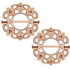 BodyDazz.com - PAIR - Rose Gold-Tone Tribal Shield Nipple Bars