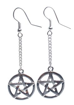 Cruel Ritual Earrings are gonna ruin ya, bb. This devilish earrings feature pentagrams dangling from a thin silver chain with hook loop closures.