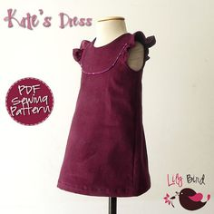 Kate's Dress - 12 mths to 10 yrs - PDF Pattern and Instructions - A-line, 2 yoke…