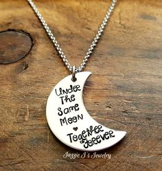 Hand Stamped Jewelry, Under The Same Moon Necklace, Gift For Her, Together Forever Gift, Crescent Moon Necklace, Long Distance Jewelry by JazzieJsJewelry on Etsy