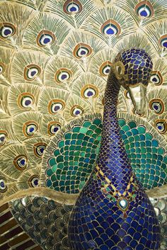 Mirror peacock, City Palace, Udaipur, India