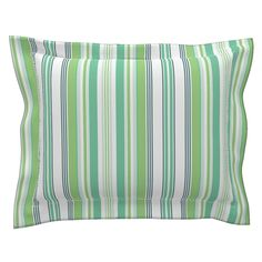 Sebright Pillow Sham with Flanged Detail featuring Beach Cabana Stripe 5 by fleamarkettrixie Pillow Shams, Pillows, Beach Cabana, Striped Bedding, Bed Design, Duvet Covers, Detail, Color, Inspiration