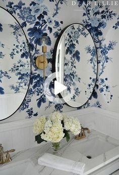 Schumacher Pyne Hollyhock Indigo fond Bathroom Inspiration, Interior Inspiration, Design Inspiration, Design Ideas, Design Trends, Interior And Exterior, Interior Design, Bathroom Wallpaper, Beautiful Bathrooms