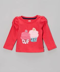 Look at this Coral 'Cupcake' Ruched-Sleeve Top - Infant & Toddler on #zulily today!