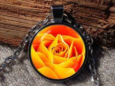 Orange rose necklace orange rose pendant rose necklace by Aranji