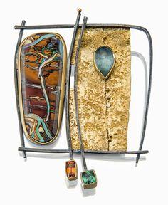 "Brooch | Sydney Lynch. ""Koroit Opal Frame"".  Blue tourmaline, faceted tourmaline, faceted spessartite garnet, 18k and 22k gold, oxidized silver"