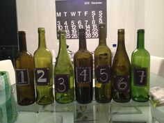 Wine Bottles for Table # with Chalkboard paint!! Gorgeous #DYI #wedding
