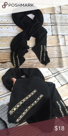 "Fancy soft black sheer scarf wrap with rhinestones Fancy soft black sheer scarf wrap with rhinestones   🌵Bundle deals available. I carry various sizes/brands. 🌵No trades, holds, or modeling. 🌵All reasonable offers accepted only through ""offer"" button. No lowball offers please. Please submit final offer willing to pay as I prefer to not counteroffer. 🌵Happy Poshing! Accessories Scarves & Wraps"