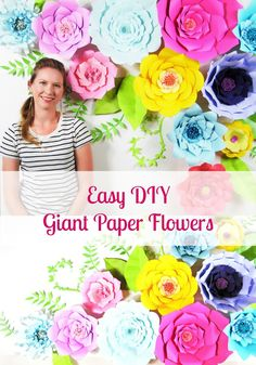 DIY paper flowers. Easy how to make giant paper flowers. Printable flower templates.