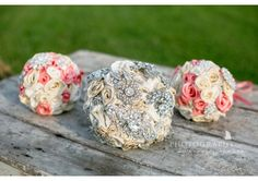 Bridal Bouquet and Two Bridesmaid Brooch Bouquet Custom Set - TheWeddingMile.com