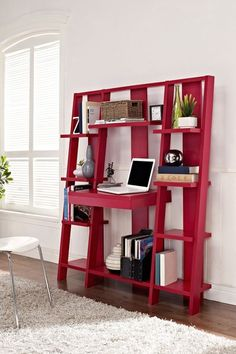 Red Ladder Bookcase with Desk // clever design that combines a desk, pull-out drawer and storage shelves in one space-saving design