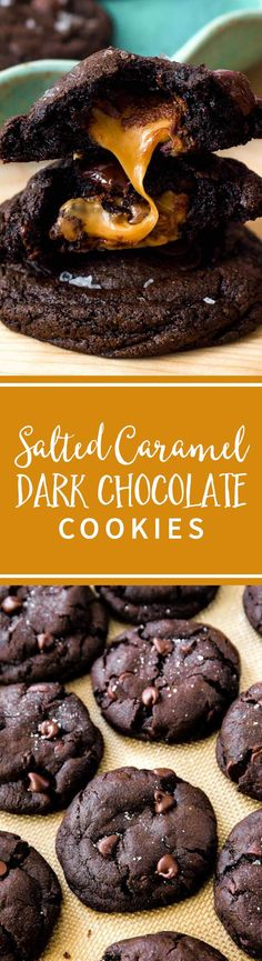 Decadent dark chocolate cookies stuffed with caramel and topped with sea salt. Totally worth every bite! Recipe on sallysbakingaddiction.com