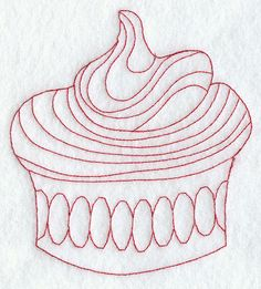 Cupcake 2 (Redwork) design (G9098) from www.Emblibrary.com