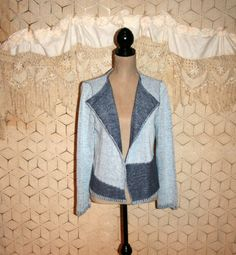 Blue Cardigan Sweater Grunge Sweater Boho Sweater by MagpieandOtis