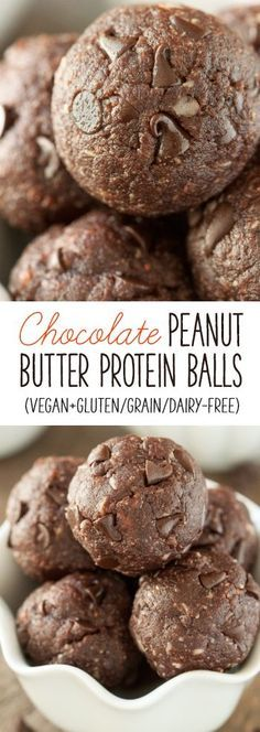 healthy chocolate peanut butter balls are loaded with protein and are vegan, grain-free, gluten-free and dairy-free.These healthy chocolate peanut butter balls are loaded with protein and are vegan, grain-free, gluten-free and dairy-free. Healthy Protein Snacks, Protein Bites, Energy Bites, Protein Foods, Vegan Snacks, Snack Recipes, Healthy Recipes, High Protein, Energy Snacks