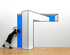 New-York based artist Aakash Nihalani creates playful optical illusion tape art installations that trick the eye and blur dimensions. Tape Art, Amazing Optical Illusions, Optical Illusion Art, Illusion Kunst, Street Installation, Graffiti, Colossal Art, Mural Art, Wall Design