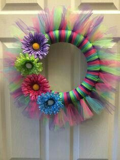 Items similar to Spring Tulle Wreath on EtsyShop for spring wreath on Etsy, the place to express your creativity through the buying and selling of handmade and vintage goods. Tulle Projects, Tulle Crafts, Wreath Crafts, Diy Wreath, Burlap Wreaths, Wreath Making, Wreath Ideas, Holiday Wreaths, Holiday Crafts