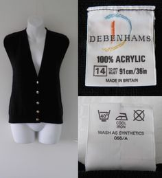 1980's DEBENHAMS Ribbed Knit Waistcoat Cardigan Sweater Vest Top Women Ladie Size 14
