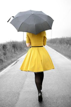 yellow dress and umbrella