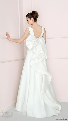 """Antonio Riva 2016 Wedding Dresses   Wedding Inspirasi   """"Emily""""-- Beautiful A-Line Bridal Gown Featuring An Oversized Abstract Bow On The Back Of The Gown........................................"""
