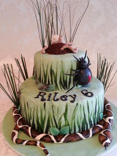"""Everybody """"eeks"""" when I show them this cake, but what little boy doesn't like the idea of snakes, spiders, bugs & worms. Everything is made of fondant and edible.."""