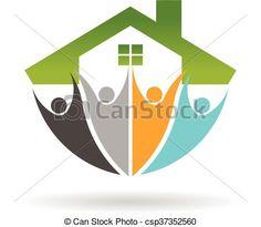 Real Estate Social Network logo. Vector graphic design - csp37352560