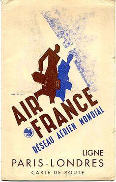 """""""Air France Réseau Aérien Mondial - Ligne Paris - Londres  Carte de Route (Air France Map of the Paris - London Line), circa 1935.  Signed """"Jean de Luz."""""""