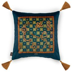 SNAKES & LADDERS Large Velvet Cushion - Billiard-Green | House of Hackney
