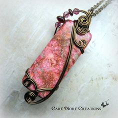 Pink Impression Jasper Wire Wrapped Pendant in Antique Bronze by CareMoreCreations.com, $54.00