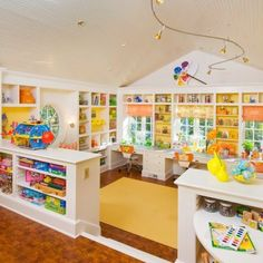 Modern Gorgeous And Clever Kids Playroom Design Ideas On Home Decorating With Creative Interior Craft Room Design Ideas With Storage Shelves Kids Playroom Design, Playroom Ideas, Playroom Storage, Daycare Design, Attic Playroom, Nursery Ideas, Playroom Paint, Small Playroom, Nursery Storage