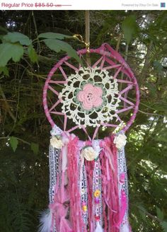 Raspberry Lemonade Dreamcatcher, Rose Doily Crochet Dream Catcher ,Silk Ribbons,Lace,hand dyed wool yarns,roses,charms,beads,feathers by DreamCatcherMan on Etsy https://www.etsy.com/listing/193405215/raspberry-lemonade-dreamcatcher-rose