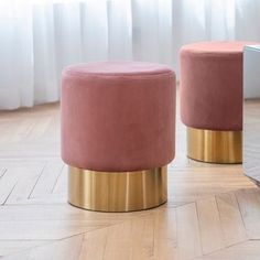 Shop for Art Leon Small Round Velvet Ottoman, Upholstered Gold Plating Base Footstool Rest Extra Seat, Pack 1 (Rose Pink) online - Annetrendyfashion