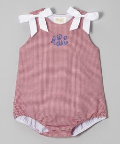 Look at this Rosalina Red Gingham Bow Monogram Bubble Bodysuit - Infant on #zulily today!