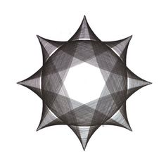 """Pen & Ink, Original Abstract Art, 15-1/2"""" Diameter, Circle Shape, Black and White, Dark Star Series, 20"""" x 20"""" Large Wall Art by ParametricDrawing on Etsy"""