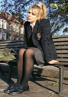 School Uniform - Billie Piper - English Actress known for playing Rose Tyler in Dr Who - born Swindon, Wiltshire School Uniform Outfits, Cute School Uniforms, Girls Uniforms, English School Uniform, British School Uniform, Billie Piper, School Girl Dress, Models, Dr. Martens