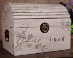 Keepsake Box - Blue Cherry Blossom Personalized Large, LT