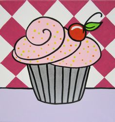 cupcake painting with cherry 12 x 12 ready to hang canvas. $35.00, via Etsy.